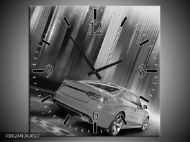 Wandklok op Glas Auto | Kleur: Zwart, Grijs | F006244CGD