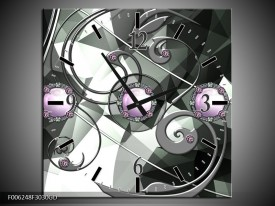 Wandklok op Glas Modern | Kleur: Paars, Grijs, Wit | F006248CGD