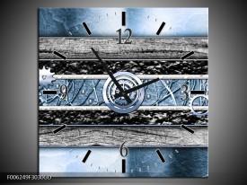 Wandklok op Glas Modern | Kleur: Blauw, Grijs | F006249CGD