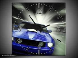Wandklok op Glas Mustang | Kleur: Blauw, Grijs | F006252CGD