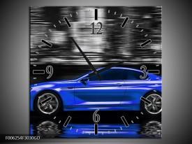 Wandklok op Glas Auto | Kleur: Blauw, Grijs | F006254CGD