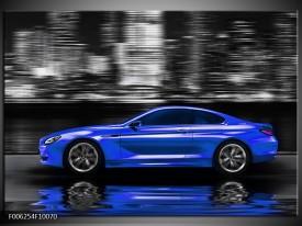 Glas schilderij Auto | Blauw, Grijs