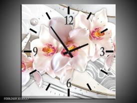 Wandklok op Glas Orchidee | Kleur: Grijs, Roze | F006260CGD