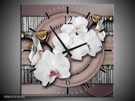 Wandklok op Canvas Orchidee | Kleur: Bruin, Wit, Grijs | F006261C