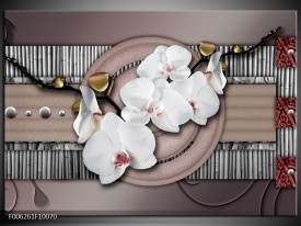 Glas schilderij Orchidee | Bruin, Wit, Grijs