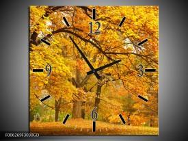 Wandklok op Glas Herfst | Kleur: Bruin, Oranje | F006269CGD