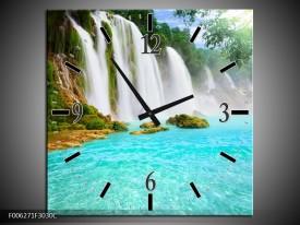 Wandklok op Canvas Waterval | Kleur: Groen, Blauw | F006271C
