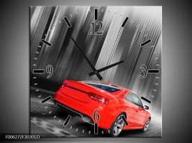 Wandklok op Glas Auto | Kleur: Rood, Grijs | F006272CGD