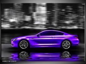 Glas schilderij Auto | Paars, Grijs, Zwart