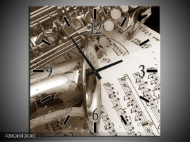 Wandklok Schilderij Muziek   Sepia