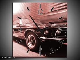 Wandklok Schilderij Auto, Mustang | Bruin, Rood