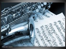 Canvas Schilderij Muziek | Blauw, Wit