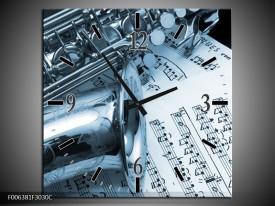 Wandklok Schilderij Muziek | Blauw, Wit