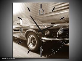 Wandklok Schilderij Auto, Mustang | Sepia