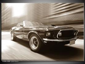 Glas Schilderij Auto, Mustang | Sepia