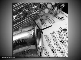 Wandklok Schilderij Muziek | Grijs, Zilver