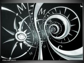 Canvas Schilderij Abstract | Zwart, Grijs, Groen