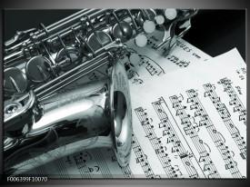 Canvas Schilderij Muziek | Grijs, Groen, Zilver