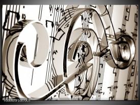Glas Schilderij Muziek | Sepia