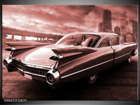 Canvas Schilderij Auto, Oldtimer | Bruin, Rood