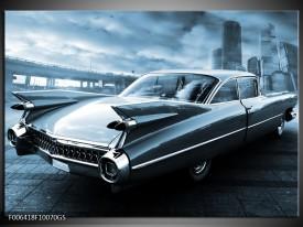 Glas Schilderij Auto, Oldtimer   Blauw