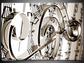 Canvas Schilderij Muziek | Sepia