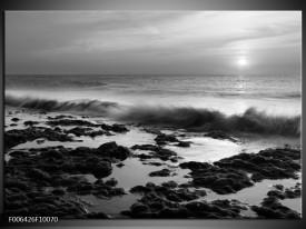 Canvas Schilderij Zee, Strand | Zwart, Grijs
