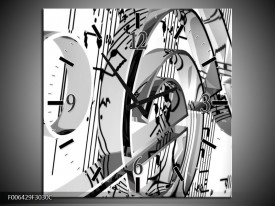 Wandklok Schilderij Muziek | Zwart, Wit, Grijs