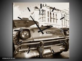 Wandklok Schilderij Auto, Oldtimer | Sepia