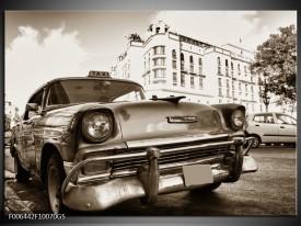 Glas Schilderij Auto, Oldtimer   Sepia