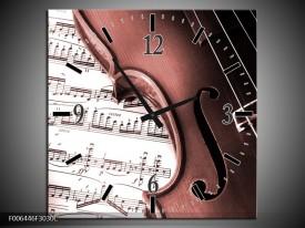 Wandklok Schilderij Muziek | Bruin, Rood