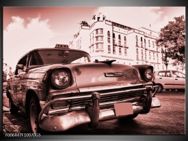 Glas Schilderij Auto, Oldtimer | Bruin, Rood