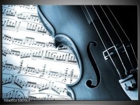 Glas Schilderij Muziek | Blauw, Grijs, Wit