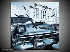 Wandklok Schilderij Auto, Oldtimer   Blauw