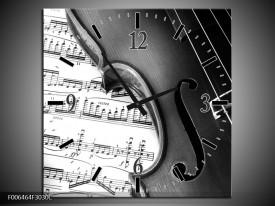 Wandklok Schilderij Muziek | Zwart, Grijs, Wit