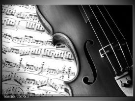 Glas Schilderij Muziek | Zwart, Grijs, Wit