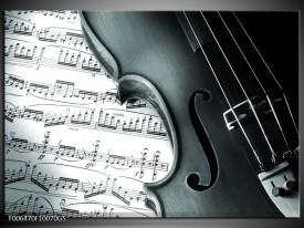 Glas Schilderij Muziek | Grijs, Groen, Wit