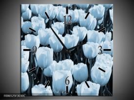 Wandklok Schilderij Bloem, Tulpen | Blauw
