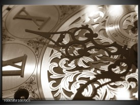 Glas Schilderij Klok | Sepia, Bruin