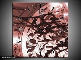 Wandklok Schilderij Klok | Bruin, Rood