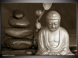 Canvas Schilderij Boeddha, Stenen | Sepia, Bruin