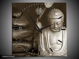 Wandklok Schilderij Boeddha, Stenen | Sepia, Bruin