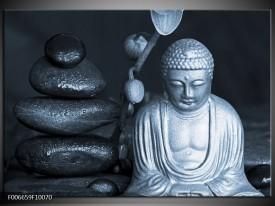 Canvas Schilderij Boeddha, Stenen   Blauw, Grijs, Zwart