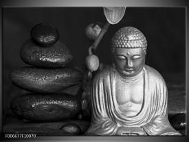 Canvas Schilderij Boeddha, Stenen   Zwart, Wit, Grijs