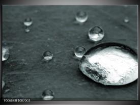 Glas Schilderij Macro, Druppel | Grijs, Groen, Zwart