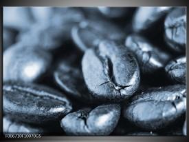 Glas Schilderij Koffiebonen, Keuken   Blauw, Grijs