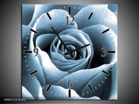 Wandklok Schilderij Roos, Bloem | Blauw, Grijs