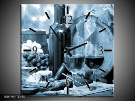 Wandklok Schilderij Wijn, Keuken   Blauw, Grijs