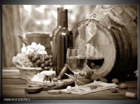 Glas Schilderij Wijn, Keuken | Sepia