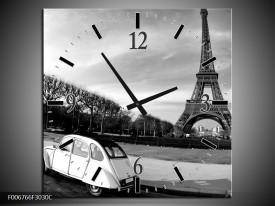 Wandklok Schilderij Steden, Parijs | Zwart, Wit, Grijs